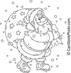 Santa with his bag of gifts - Santa Claus carrying a big bag...