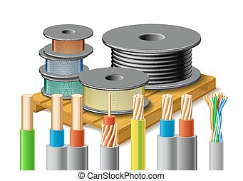 Different kinds of cables are on wooden pallet. - Different...