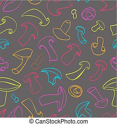 Seamless champignon pattern - Seamless pattern with...