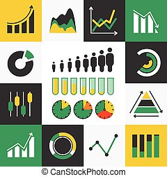 Business Infographic icons with diagram- Vector Graphics