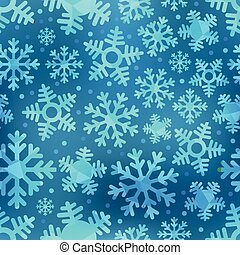 Different blue snowflakes set Abstract seamless background