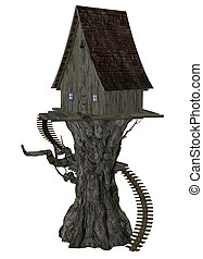 Witch House on Tree - Digitally rendered illustration of an...