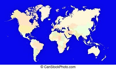 Worldmap Zooms to Germany - A pin marks the country Germany...