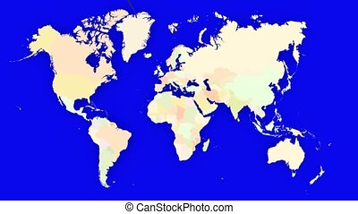 Worldmap Zooms to Austria - A pin marks the country Austria...