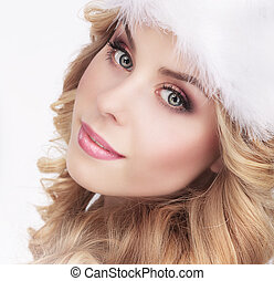 Cute Young Woman in Furry White Cap