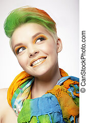 Funny Smiling Woman with Colored Hairs Looking Up