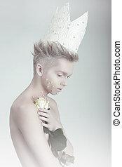 Creativo, Concept., uomo, in, corona, con, fiori,