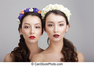 Elegance Two Women with Wreaths of Flowers Fantasy