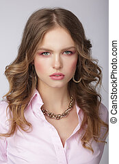 Stylish Woman in Pink Blouse with Massive Chainlet - Stylish...