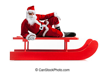 Christmas sledge with Santa Claus on white background.