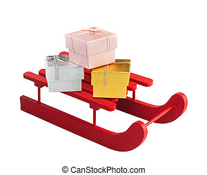Wooden red sled with gift boxes on white background