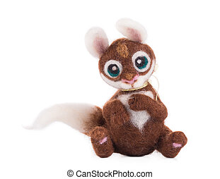 Soft toy squirrel. Isolated on a white background.
