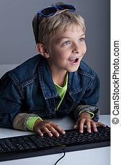 Little boy living in virtual world - Image of little boy...