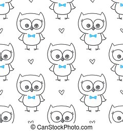 baby owl - cute little owls, vector baby seamless pattern