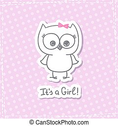 baby owl - vector hand drawn baby owl, baby shower card...