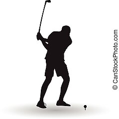 golfer takes a shot vector silhouette