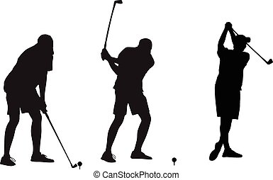 golfer takes a shot vector silhouettes