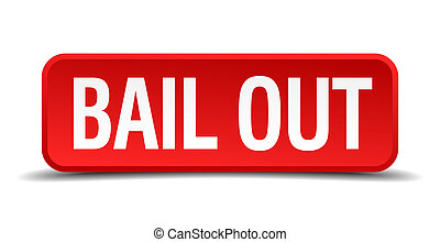 bail out red three-dimensional square button isolated on...