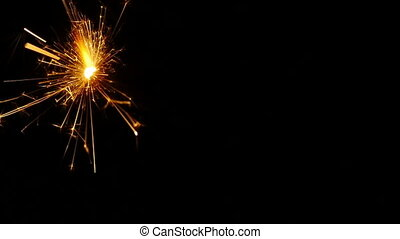 Sparkler close-up. Slow-Mo