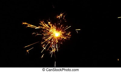 Sparkler over Black Background