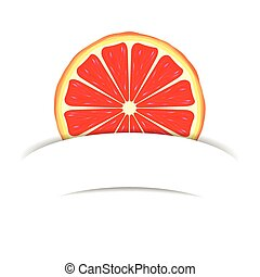 Grapefruit with paper banner - Grapefruit with white blank...