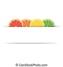 Citrus with paper banner - Four bright citrus slices of...