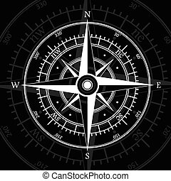 Compass black - White wind rose isolated on black background...