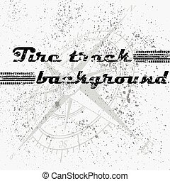 Tire track background blots - Black tire track with ink...