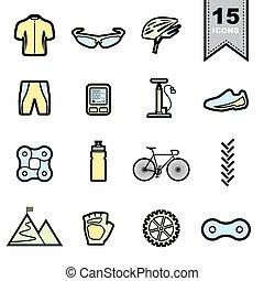 Bicycle Line icons set Illustration eps 10