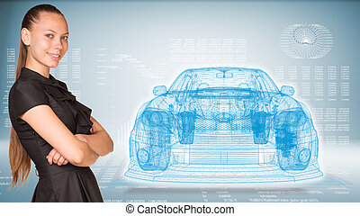 Businesswoman and glow wire-frame car - Businesswoman...