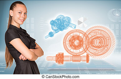 Businesswoman and glow wire-frame gears - Businesswoman...