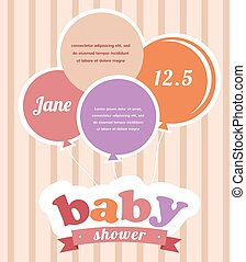 Colorful party balloons celebrating a newborn baby girl
