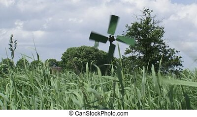 Drainage windmill in Dutch reed land - Dutch reed land,...