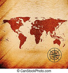 World map, wooden design texture, vector illustration