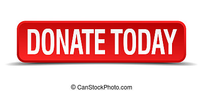donate today red 3d square button isolated on white...