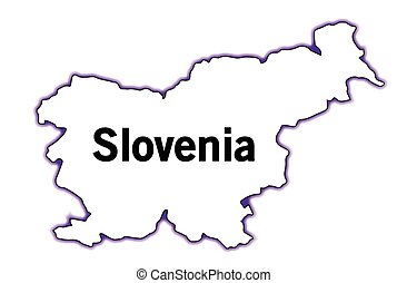 Slovenia - Outline map of Slovenia over a white background