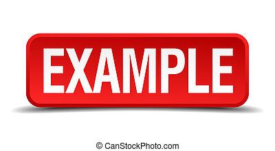 exemplo, vermelho, 3D, quadrado, botão, isolado,...
