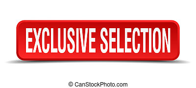 exclusive selection red 3d square button isolated on white...