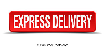 express delivery red 3d square button isolated on white...