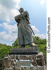 Statue of Ryoma Sakamoto in Nagasaki, Japan. Ryoma Sakamoto...