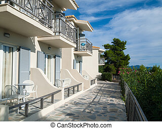 Holiday appartments in Mediteranean during summer time.