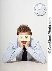 Business man sleeping - A tired business man sleeping