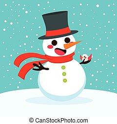 Snowman Christmas With Bird