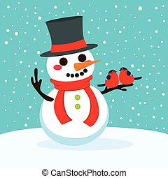 Snowman With Red Birds In Love