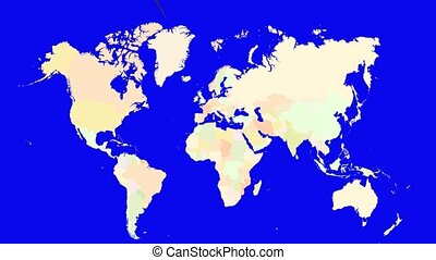 Worldmap Zooms to Denmark - A pin marks the country Denmark...
