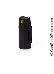 Tear Gas - Black bottle of tear Gas isolated on white...