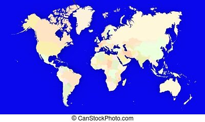 Worldmap Zooms to France - A pin marks the country France on...