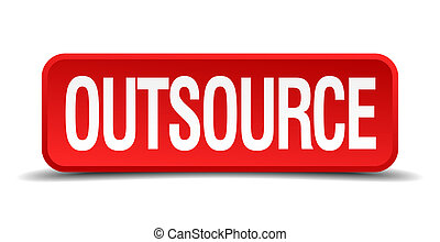 Outsource red 3d square button isolated on white