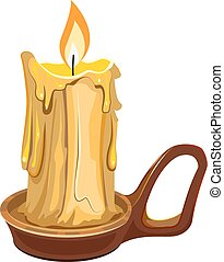 Burning wax candle in a stand Illustration in vector format