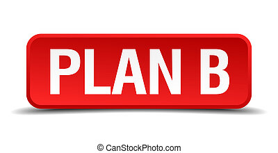 Plan b red 3d square button isolated on white